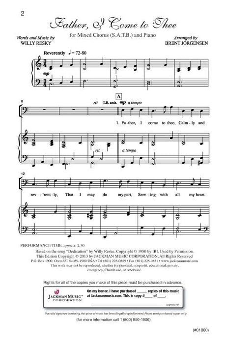 Father I Come To Thee Satb | Sheet Music | Jackman Music