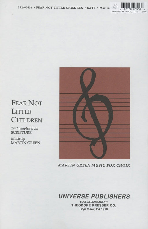 Fear Not Little Children - SATB | Sheet Music | Jackman Music