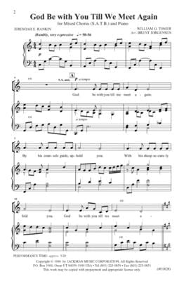 God Be With You Till We Meet Again Satb | Sheet Music | Jackman Music