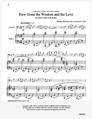How Great the Wisdom and the Love - Cello Solo & Piano
