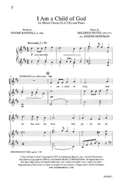 I Am A Child Of God Satb Hoffman | Sheet Music | Jackman Music
