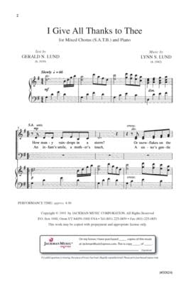 I Give All Thanks To Thee Satb | Sheet Music | Jackman Music
