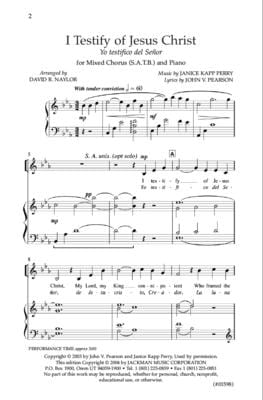 I Testify Of Jesus Christ Yo Testifico Del Senor Satb | Sheet Music | Jackman Music