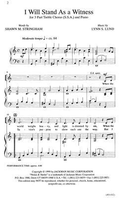 I Will Stand As A Witness Ssa | Sheet Music | Jackman Music