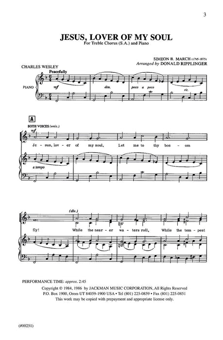 Jesus Lover Of My Soul Sa Ripplinger | Sheet Music | Jackman Music