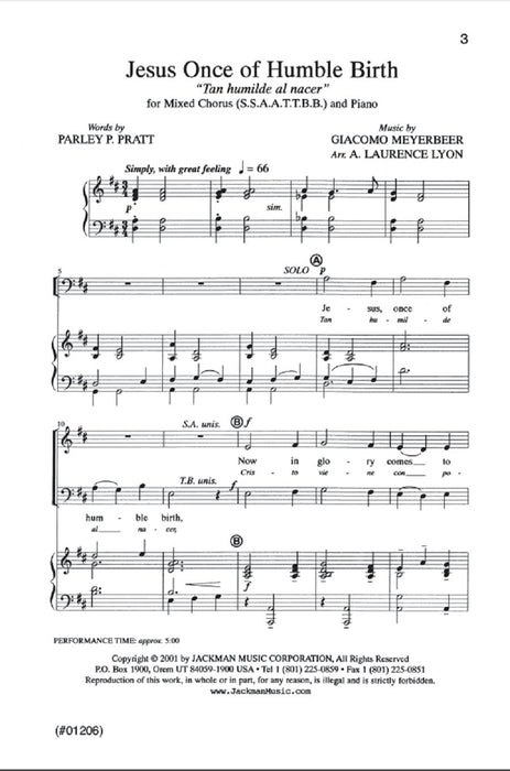 Jesus Once Of Humble Birth Ssaattbb Lyon | Sheet Music | Jackman Music
