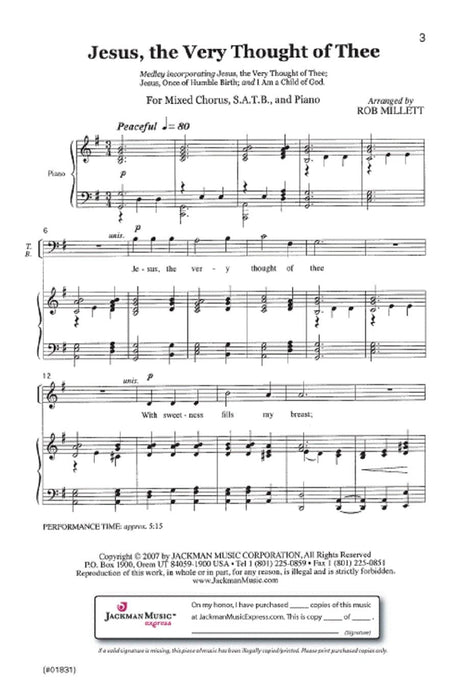 Jesus The Very Thought Of Thee Medley Satb | Sheet Music | Jackman Music