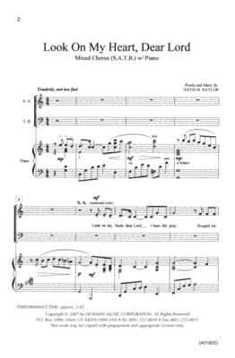 Look On My Heart Dear Lord Satb | Sheet Music | Jackman Music