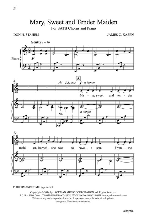 Mary, Sweet and Tender Maiden - SATB