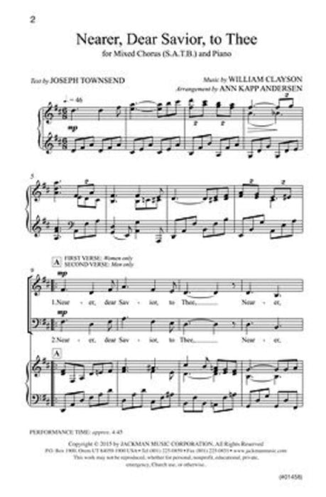 Nearer Dear Savior To Thee Satb | Sheet Music | Jackman Music
