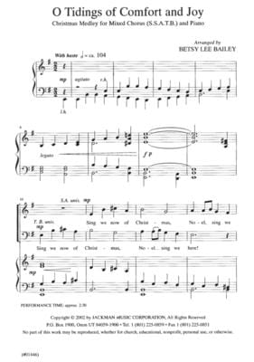 O Tidings Of Comfort And Joy Ssatb | Sheet Music | Jackman Music