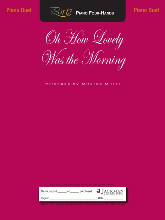 Oh How Lovely Was The Morning - Piano Duet | Sheet Music | Jackman Music