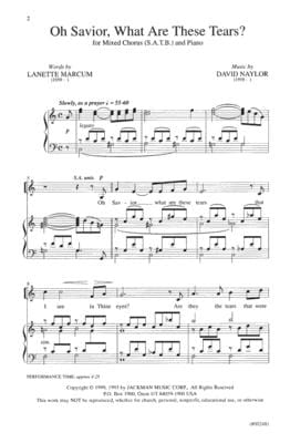 Oh Savior What Are These Tears Satb | Sheet Music | Jackman Music