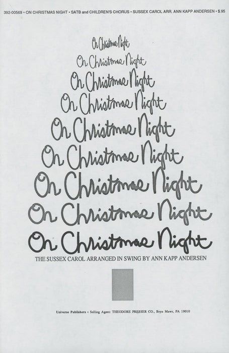 On Christmas Night (All Christians Sing) - SATB & Children | Sheet Music | Jackman Music