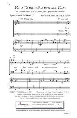 On a Donkey Brown and Gray - SATB