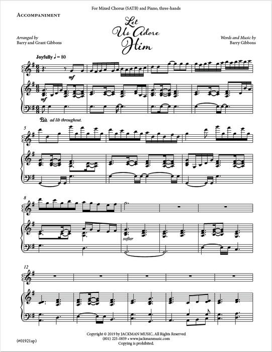 Let Us Adore Him - SATB and Piano, three-hands
