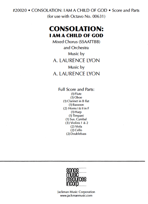 Consolation:  I Am a Child of God - Score and Parts