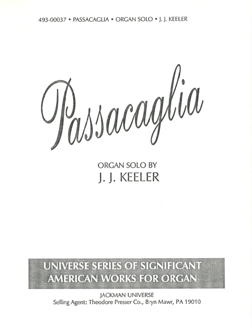 Passacaglia - Organ Solo | Sheet Music | Jackman Music