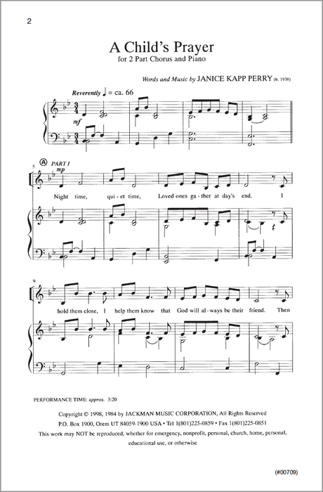 A Childs Prayer Sa | Sheet Music | Jackman Music