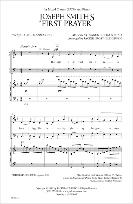 Joseph Smiths First Prayer Satb | Sheet Music | Jackman Music