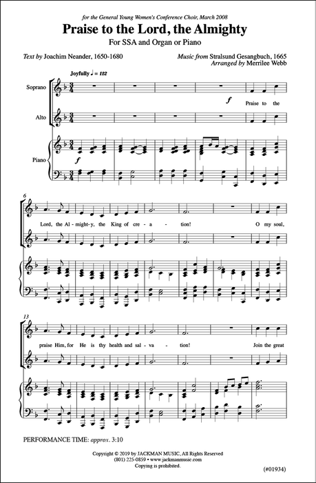 Praise To The Lord The Almighty Ssa | Sheet Music | Jackman Music