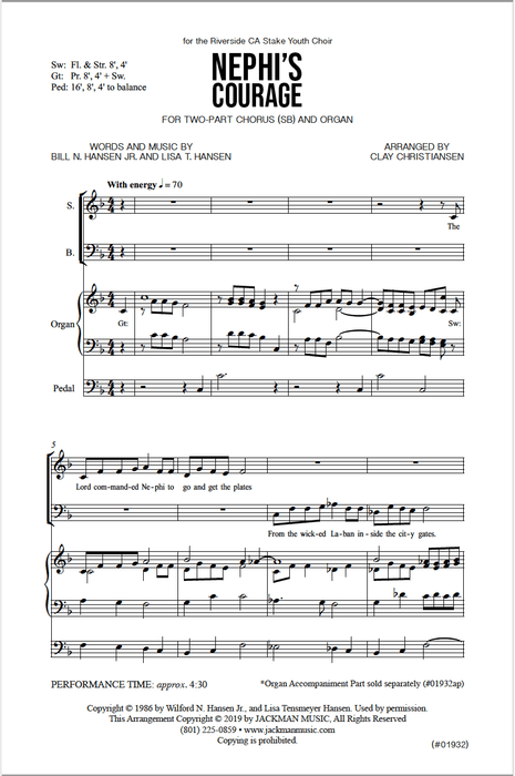 Nephis Courage Two Part | Sheet Music | Jackman Music