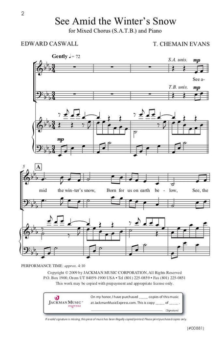 See Amid The Winters Snow Satb Evans | Sheet Music | Jackman Music
