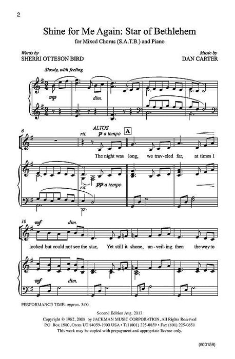 Shine for Me Again, Star of Bethlehem - SATB
