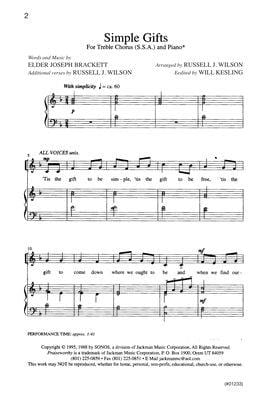 Simple Gifts Ssa | Sheet Music | Jackman Music