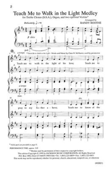 Teach Me To Walk In The Light Medley Ssa | Sheet Music | Jackman Music