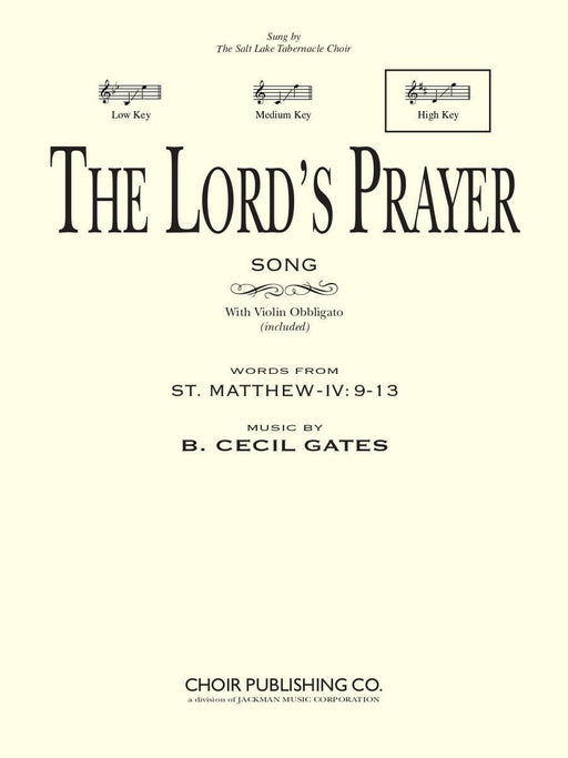 The Lord's Prayer - Vocal Solo High | Sheet Music | Jackman Music