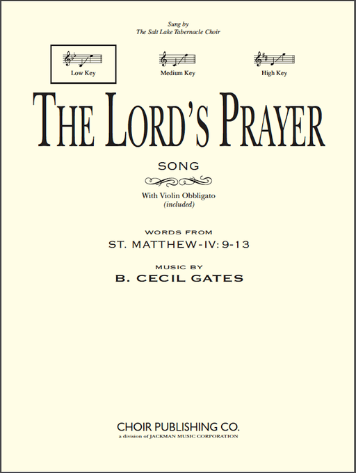 The Lord's Prayer - Vocal Solo Low (Digital Download) | Sheet Music | Jackman Music