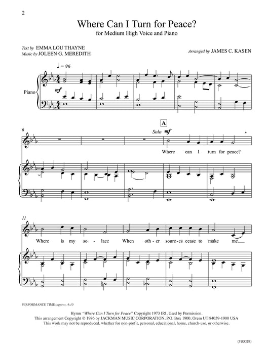 Where Can I Turn For Peace Vocal Solo | Sheet Music | Jackman Music