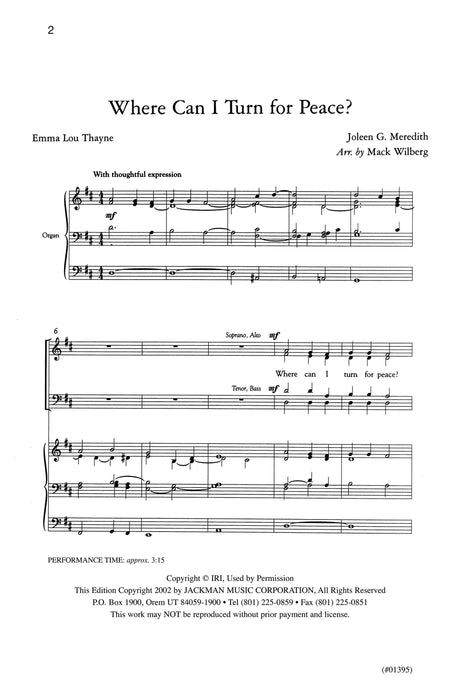 Where Can I Turn For Peace Satb Wilberg | Sheet Music | Jackman Music
