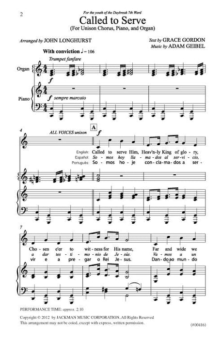 Called To Serve Unison Chorus Organ Piano | Sheet Music | Jackman Music