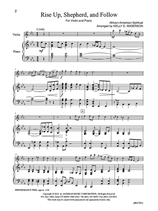 Rise Up Shepherd And Follow Violin Solo | Sheet Music | Jackman Music
