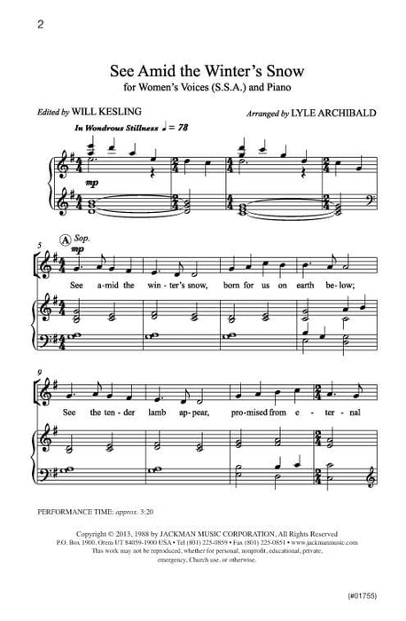 See Amid The Winters Snow Ssa Archibald | Sheet Music | Jackman Music