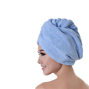 Bath TowerWomen's Microfiber Fabric Bath Hair Towel Dry Hat Cap Quick Drying Lady Bath Tool Solid Towelbathroom products