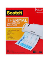 Scotch Thermal Laminating Pouches, 8.9 x 11.4 -Inches, 3 mil thick, 100-Pack (TP3854-100)