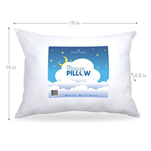 PharMeDoc Toddler Pillow for Kids, White, 14 x 19 inch - No Pillowcase Needed - Machine Washable