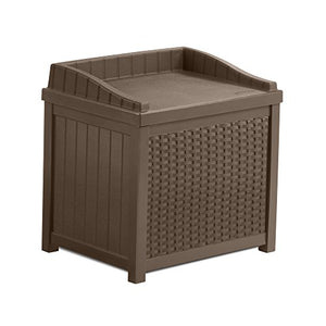 Suncast SSW1200 Mocha Resin Wicker 22- Gallon Storage Seat
