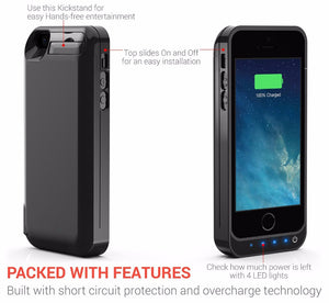 5 Color 4200mAh Backup External Battery Case Charger Case Power Bank Pack Cover Case with Srand for IPhone 5 5s 5c SE