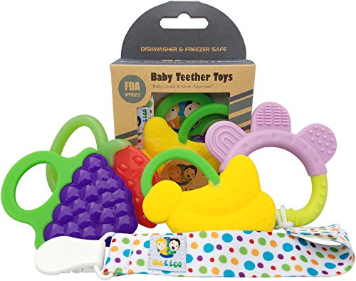 Teething Toys: Baby Infant and Toddler WITH Pacifier Clip  4pcs