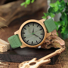 Unisex Wooden Watch With Green Sports Strap