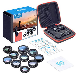 Apexel 10 in 1 Cell Phone Camera Lens Kit For Iphone and Samsung Phones