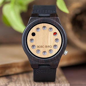 12 Hole Designed Men's Bamboo Watch with Black Cowhide Strap