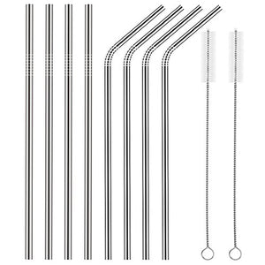 Set of 8 Stainless Steel Drinking  Straws Ultra Long