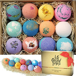 LifeAround2Angels Bath Bombs Gift Set 12 USA made Fizzies, Shea & Coco Butter Dry Skin Moisturize, Perfect for Bubble & Spa Bath. Handmade Birthday Mothers day Gifts idea For Her/Him,...
