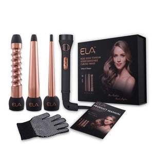 ELA Hair Curling Iron and Wand Set with Interchangeable Titanium Barrels