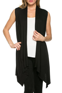 Slim Sleeveless Vest Open Cardigan